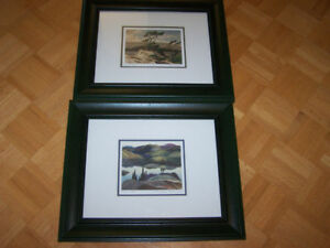 2 -15 x 18 framed - matted GROUP OF SEVEN PRINTS