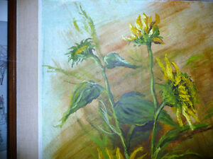 "Garden Study by O. J. Coghlin ""Sunflowers"" Original Oil Painting Stratford Kitchener Area image 8"