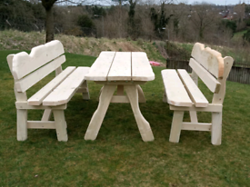 Beautiful looking top quality wooden garden furniture table & benches