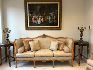 ANTIQUE  ITALIAN SOFA AND TWO CHAIRS