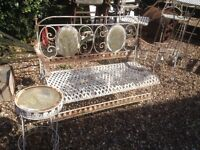 Very Decorative Aged Look Metal Garden Bench with Matching Side Table