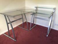 Metal and glass corner computer desk