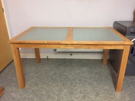 Solid Wood and Frosted Glass Dining Table