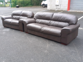 Brown Leather 2&3 Seater Sofas (🤩excellent condition)