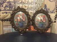 Antique vintage small metal frames oil paintings