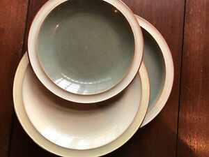 Denby 2 dinner plates, one side plate. earth colours. no damage