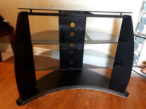 FOUR SHELVE OVAL TINTED GLASS  TV STAND