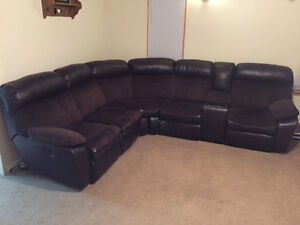 leather/cloth 5 piece sectional - electric reclining ends
