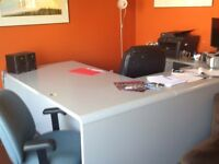 Large commercial desk, 5 draw filling cabinet, 3 chairs.