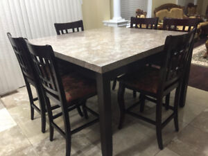 Counter-Height Marble Table with 6 High-Chairs