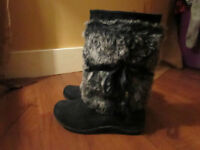 Size 3 - Black faux fur boots for sale