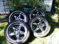 Mid 2000's BMW m3 rims tires and hardware with 2 new front tires