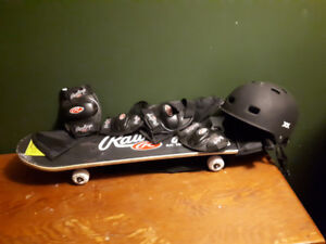 """31"""" Rawlings Concave Skateboard Set, Never Used, and Helmet"""
