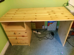 Pine desk with small shelf and three drawers