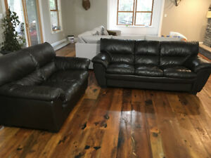 Dark Brown Leather Couch and Loveseat