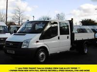 2012 FORD TRANSIT 350/115 DOUBLE CREW CAB ALLOY TIPPER 1 OWNER FROM NEW,6 SPEED,