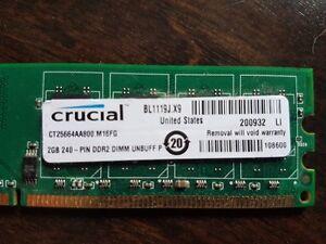Barettes de mémoire RAM 8GB (4 X 2 GB) DDR2 800Mhz
