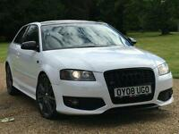 **STUNNING**AUDI S3*2008 (08) TFSI**320BHP REMAP*FSH*GLOSS WHITE*BLACK ROOF*HEATED LEATHER*