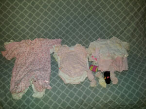 Huge Lot of Baby Girl 0-3 Months Clothing - Over 30 Pieces