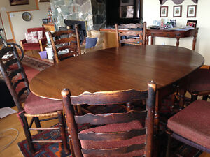 Oak dining room table and 6 oak ladderback chairs price reduced