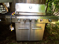 75,000 BTU 5 burner natural gas BBQ, with cover, never used