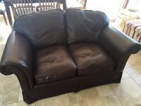 2 Laura Ashley Chichester brown leather sofas £350 ONO