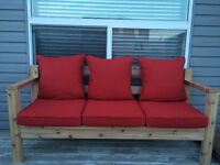 Solid cedar patio couch
