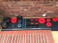 Weights bench,dumbbells, kettle bell