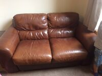 Real Leather Light Brown 2 seater sofa and armchair