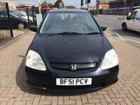 2002 Honda Civic 1.6i VTEC SE Executive Mot 2 owners 80000 Miles Bargain