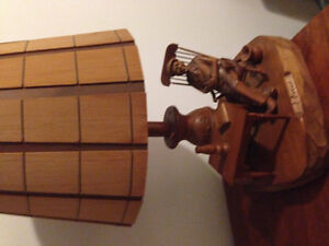 Artisan hand crafted wooden lamp