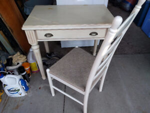 White solid wood Antique style writing desk.