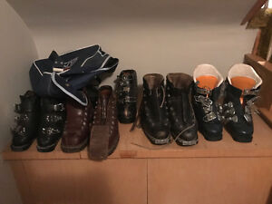 5 pairs of vintage ski boots