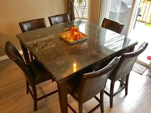 Modern 7 Piece Dining set - Real Marble top  Strathcona County Edmonton Area image 1
