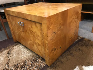 Mid century modern olive wood side coffee table  Lp cabinet