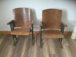 Two Unique Antique schoolroom chairs