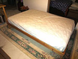 Double Slatted Pine Bed with very comfortable mattress
