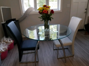 Modern Glass Dining Table Set W 6 White Chairs 1000 OBO