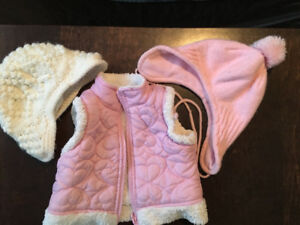 Baby girl vest and hats