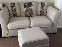 Cream 2 seater sofa, armchair and storage footstool- MUST SELL BY 21/10/2016