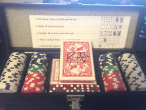 Poker set signed by Russell Martin