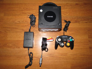 Black Nintendo Gamecube System with Controller and Cords