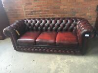 Oxblood / Brown 3 Seater Chesterfield Leather Sofa - UK Delivery - Within M25 FREE DELIVERY