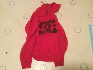 Red men's DC zippered hooded sweater size small.