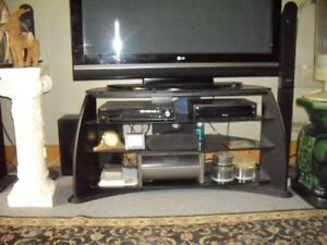 TV Stand with 4 heavy duty beveled glass shelves