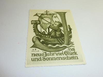 Alte Originale Hummel Karte Schwarz weiß gezackter Rand NR S 10 Müller unbesch.