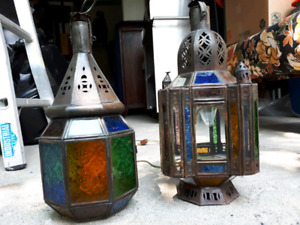 Moroccan metal & stained glass lamps & ceiling light.