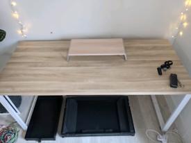 Esel Framed Computer/Work Desk - Natural Oak & White Frame. Lightly Us