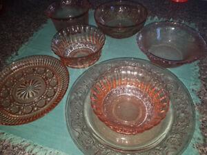 Orange glass dishes