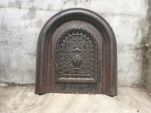 Antique Victorian cast iron fireplace face plate